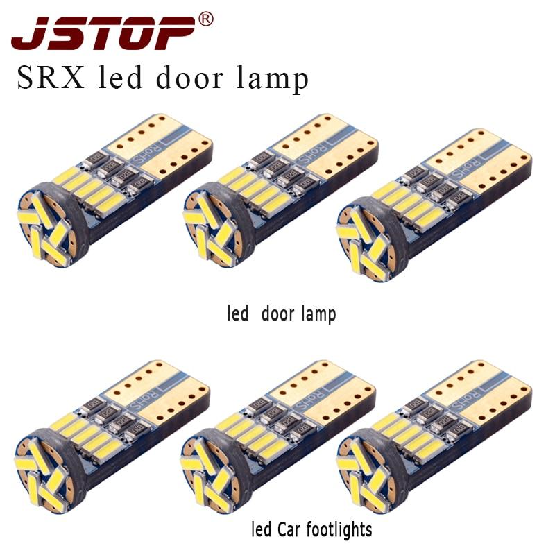 Jstop 6piece/set Srx Led Car Lamp T10 W5w 194 12vac Bulbs 4014smd W5w Auto 6000k Canbus Car Automobile Lights