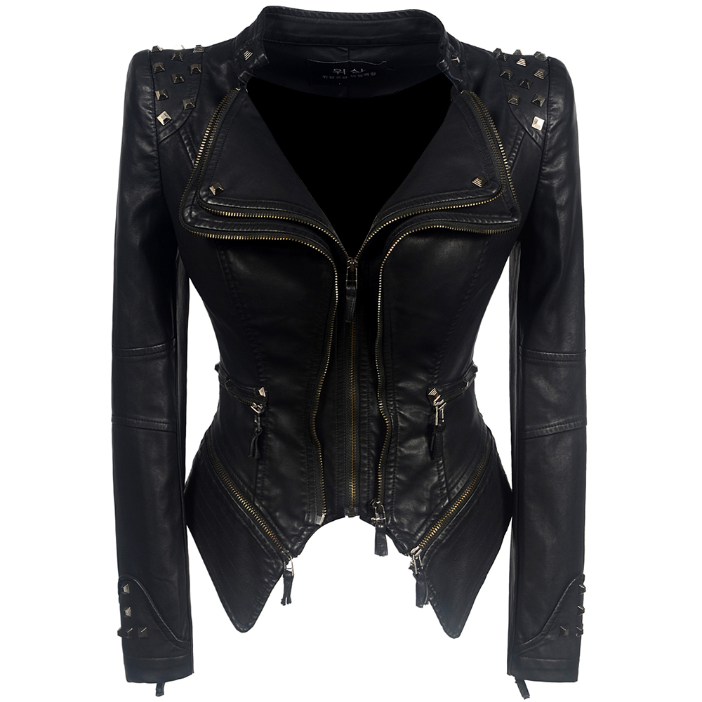 2018 Coat HOT Women Winter Autumn Black Fashion Motorcycle Jacket Outerwear faux   leather   PU Jacket Gothic faux   leather   coats