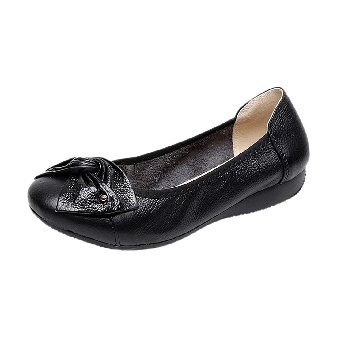 Handmade genuine leather ballet women female casual shoes women flats shoes slip on car-styling driving loafer women shoes handmade genuine leather