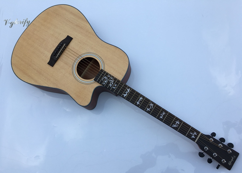 купить Solid Spruce Top Electric-Acoustic Guitar free shipping free case онлайн