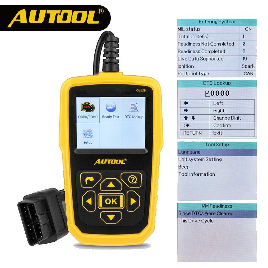 AUTOOL OL129 OBD2 автомобилей сканер Автомобильная тестер OBD 2 II код читателя экрана сканирования диагностический инструмент EOBD Диагностика двигат...
