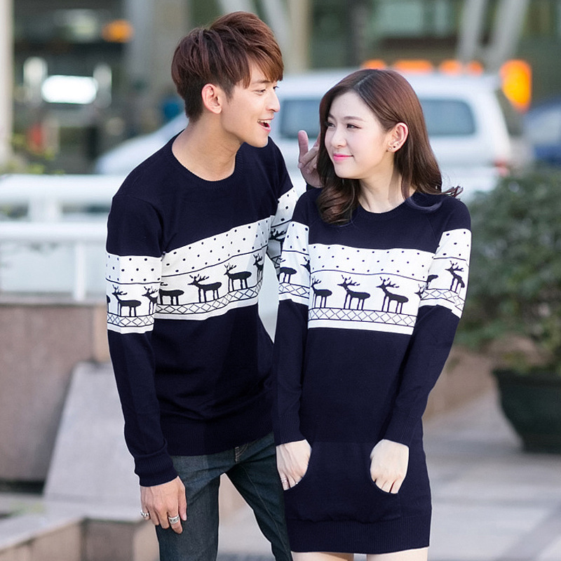 Smthma 2019 Winter Runway Men's /women Long Sleeve Wine Red  Pullovers Matching Deer Couple Christmas New Year Sweaters #2