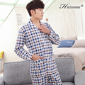 2017-Men 's pajamas cotton long - sleeved spring and autumn lapel cardigan plaid pajamas pajamas suit R201