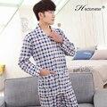 2017-Men 's pajamas cotton long - sleeved spring and autumn lapel cardigan plaid pajamas pajamas suit R201