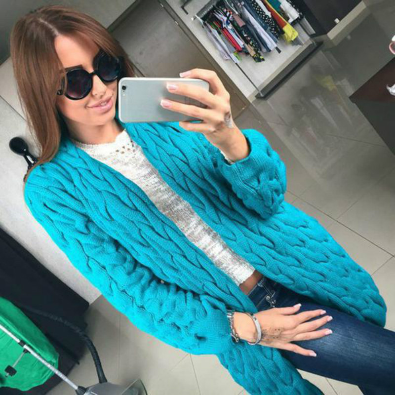 2017 Autumn Winter Women Knitted Sweater Coat Long Sleeve Cardigan Jacket Female Casual Outwear Tops Pull Female