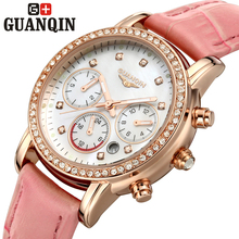 Brand GUANQIN women's watches quartz watch women quartz-watch crystal vintage relogio feminino classic sapphire leather