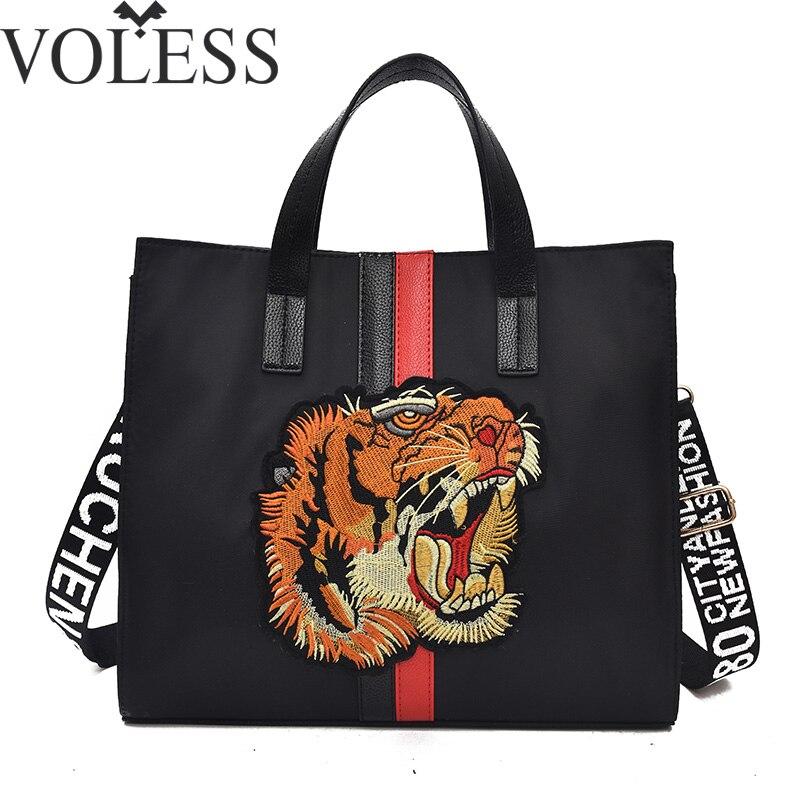 VOLESS Fashion pu Leather Women Handbag Canvas Tiger Embroidery Women Shoulder Bags Large Capacity Messenger Bags Sac A Main