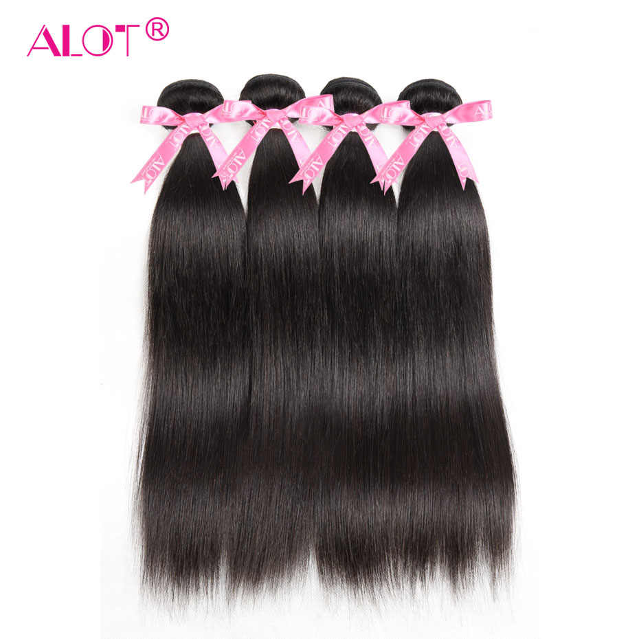 ALOT 4 Bundles Deal Peruvian Straight Hair Non Remy Hair Weave Double Weft Natural Color 100% Human Hair Extensions 4Pcs/Lot