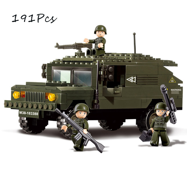 Models Building Toy 9900 Military Humvee Fighting Machines 191pcs