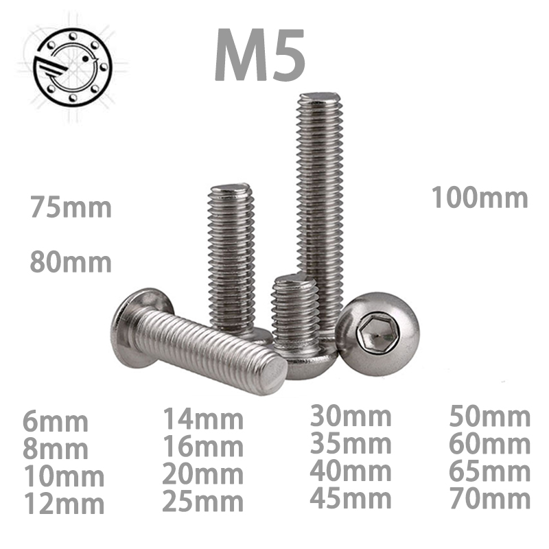M5 Bolt A2-70 Button Head Socket Screw Bolt SUS304 Stainless Steel M5*(8/10/12/14/16/18/20/25/30/25/30/35/40/45/50~100) mm 50pcs iso7380 m3 5 6 8 10 12 14 16 18 20 25 3mm stainless steel hexagon socket button head screw