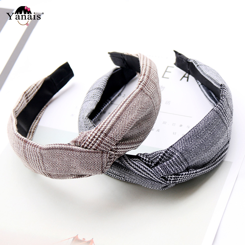 Soft Knitted Headband Hairband For Women Lady Bow Hair Hoop Vintage Hair Band Turban Bezel Hair Accessories   Headwear