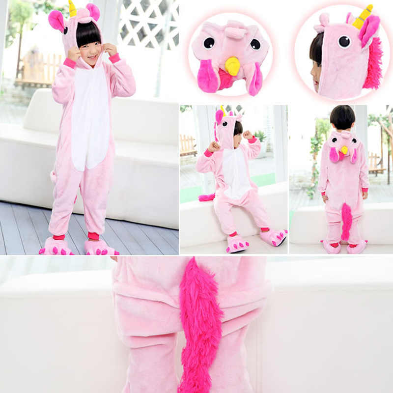 ... Kigurumi пижамы для детей девочек Единорог аниме панда Onesie детский  костюм Мальчики пижамы покемон комбинезон Единорог 162983e306403