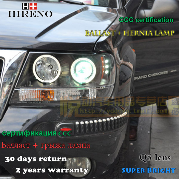 Hireno Headlamp for 1999-2004 Jeep Grand Cherokee Headlight Assembly LED DRL Angel Lens Double Beam HID Xenon 2pcs 2pcs purple blue red green led demon eyes for bixenon projector lens hella5 q5 2 5inch and 3 0inch headlight angel devil demon