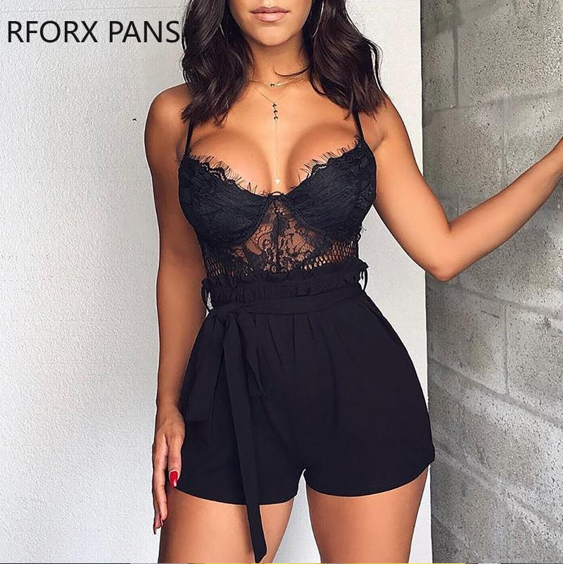 Spaghetti Strap Eyelash Lace Insert Rompers Sexy Jumpsuit  for Women 2020