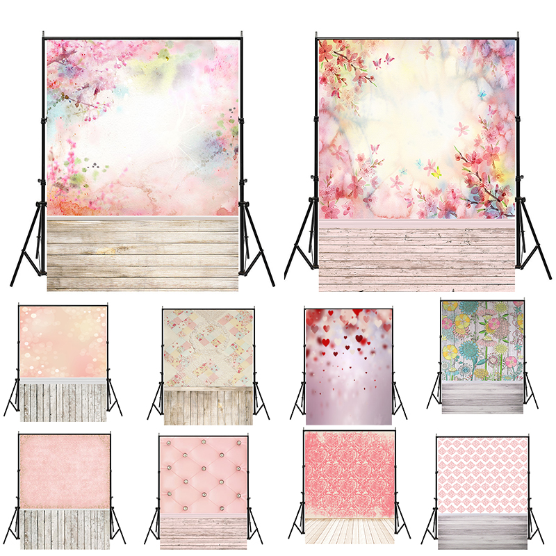 WHISM 5x7ft(150x210cm) Photography Party Backdrop Vinyl Cloth Pink Flowers Wedding Photo Background Baby Photo Studio PropsWHISM 5x7ft(150x210cm) Photography Party Backdrop Vinyl Cloth Pink Flowers Wedding Photo Background Baby Photo Studio Props
