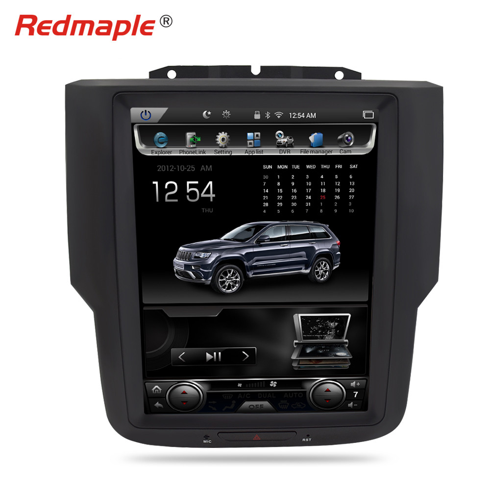 12Vertical Screen Android 7.1 Car Radio GPS Navigation Multimedia Player Headunit For Dodge Ram 2014 2015 2016 2017 Auto Stereo