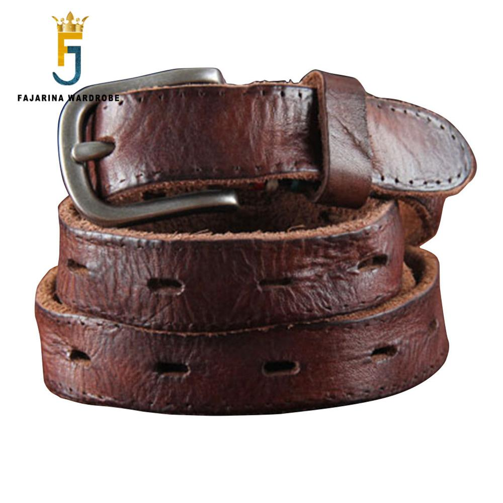 FAJARINA Top Quality Pure Cowhide Retro Female Coffee Genuine Leather Narrow Jeans Pin Buckle Ladies   Belts   23mm Wide N17FJ098