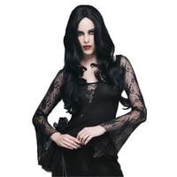 Gothic Women Asymmetrial Black Sexy Lace Shirts Steampunk Retro Long Sleeve Shirt Transparent Party Clubwear Shirt Top
