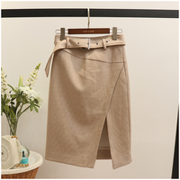 7S 2019 summer new houndstooth skirt fashion slim high fork skirt high waist A word skirt bnm260 cherry