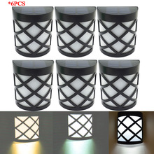 6Pcs,6LEDs LED Solar Garden Sensor Light Waterproof IP55 Led Solar Lamp Outdoor Light Path Roof Corridor Wall Lamp Spot Lighting