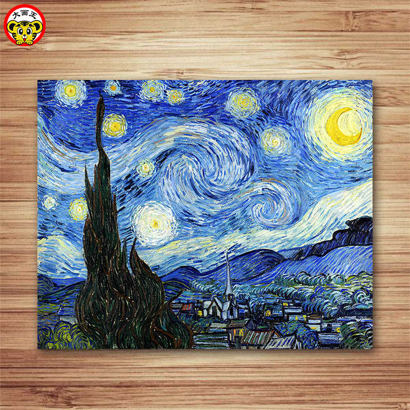 painting by numbers art paint by number  DIY handmade decorative landscape adult hand painted 40 x 50cm coloring Van Gogh famous