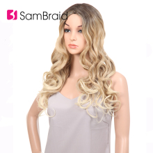 Sambraid Synthetic Body Wave Wig hair For Women 24inch/pack The long handmade Blonde body wave wig for women 24inch