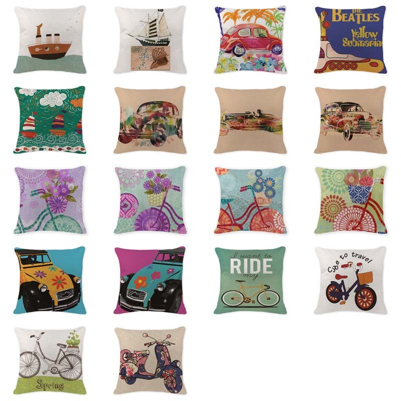 Elegant 2017 Hot Pillowcase Bicycle Car Cushion Covers Camping 18*18 Cotton Linen Home Decorpillows Rustic Throw Pillowcover