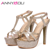 ANNYMOLI Women High Heels Platform Shoes 2017 Women Elegant Party Shoes Large Size 33-46 Lady Sexy Sandals Open Toe Summer Shoes