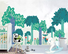 Beibehang Custom 3D Photo Wallpaper Big tree watercolor hand drawn deer Wall Mural For Living Room Cartoon mural