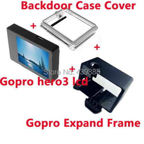 3pcs/lots Gopro LCD screen BacPac displays screen + Backdoor Case Cover + Gorpo expanded edition frame For Gopro accessories gopro bacpac backdoor kit for standart housing