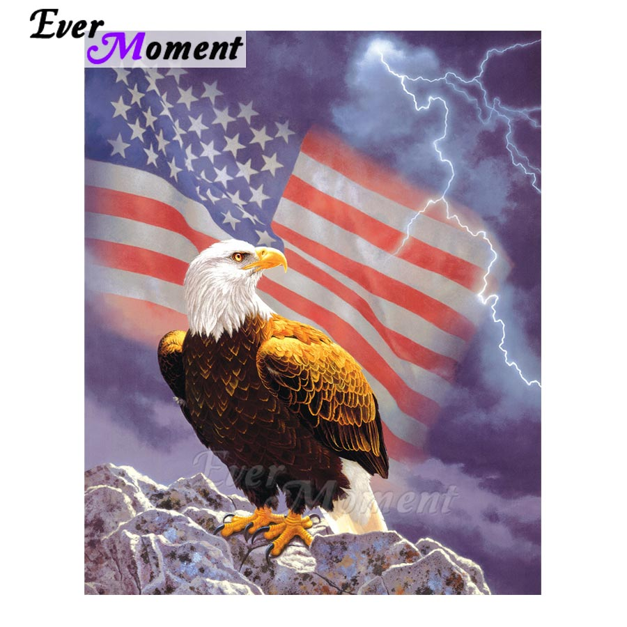 Ever Moment Diamond Painting US National Flag and Eagle Paint Diamond Animal Full Kits Handmade Gift Needlework Picture ASF1069Ever Moment Diamond Painting US National Flag and Eagle Paint Diamond Animal Full Kits Handmade Gift Needlework Picture ASF1069