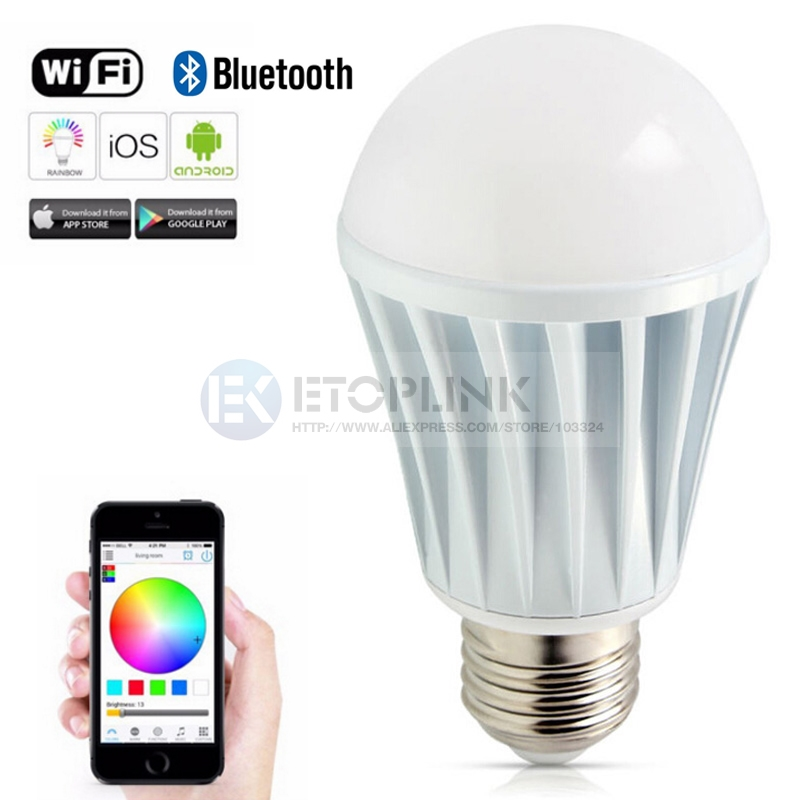 E27 7W Bright RGB Wireless WiFi Smart Timing LED Light Bulb for Smart Phone Cont
