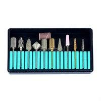 SpeTool Profesyonel Tırnak Uçları Seti 10 adet Tungsten Seramik Elmas Kum Band Rortary Burr Elektrikli Manikür Nail Art Salon Aracı