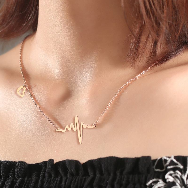 Meaeguet Bijoux Trendy Stainless Steel Rose Gold Color Electrocardiogram Rhythm Heart Beat Necklace For Women