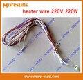 Envío gratis 10 unids resistente de Alta temperatura del alambre del calentador 220 V 220 W elemento de calefacción a prueba de agua/calentador de cable de silicona