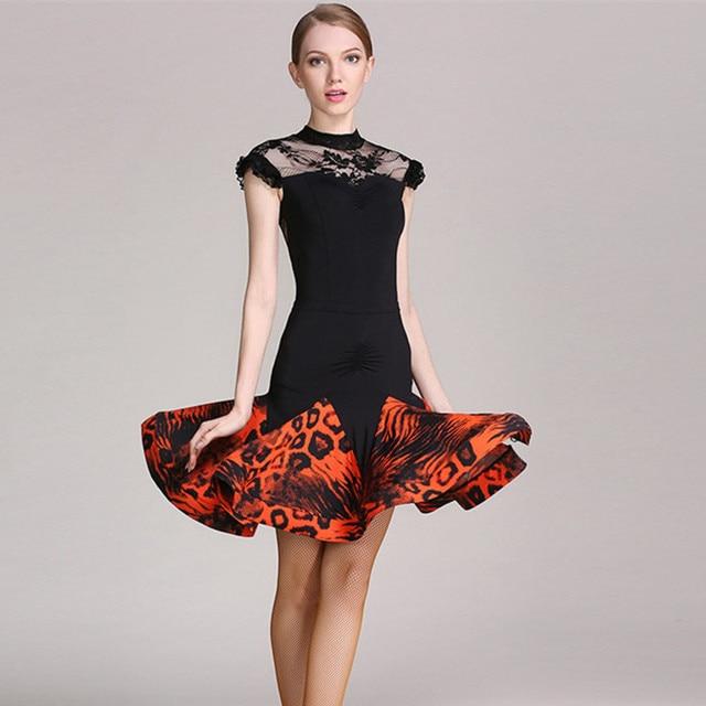 a3af7f3a1666 red leopard latin dance dress to dance costumes salsa dress for latina dancing  clothes women latin dress fringe rumba dancewear