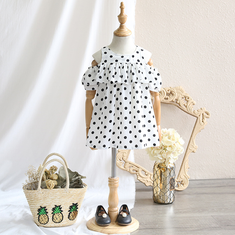 Childrens clothing 2018 summer new girl wave chiffon dress female baby short-sleeved leak shoulder lotus leaf dress