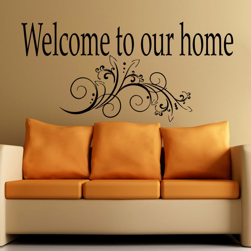ZOOYOO Welcome To Our Home Wall Sticker Home Decor Living Room Bedroom Flower Art Murals Wallpaper Decoration