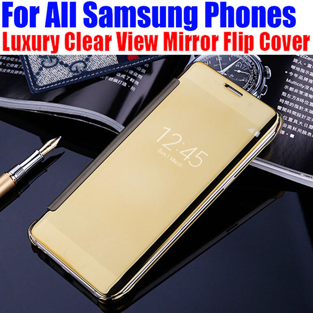 Luxury Clear View Mirror Flip Cover Case for Samsung Galaxy Note 8 S8 Plus S7 edge S5 S6 edge Plus  A3 A5 A7 J3 J5 J7 2017 MS1