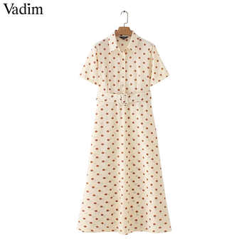 Vadim women dots print maxi dress sashes turn down collar female casual short sleeve dresses Ankle length dresses vestidos QB298 - DISCOUNT ITEM  25% OFF Women\'s Clothing