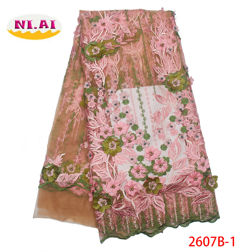 High Quality African French Lace Fabric 2019 Latest 3d Flower Tulle Lace Nigerian Lace With Beads