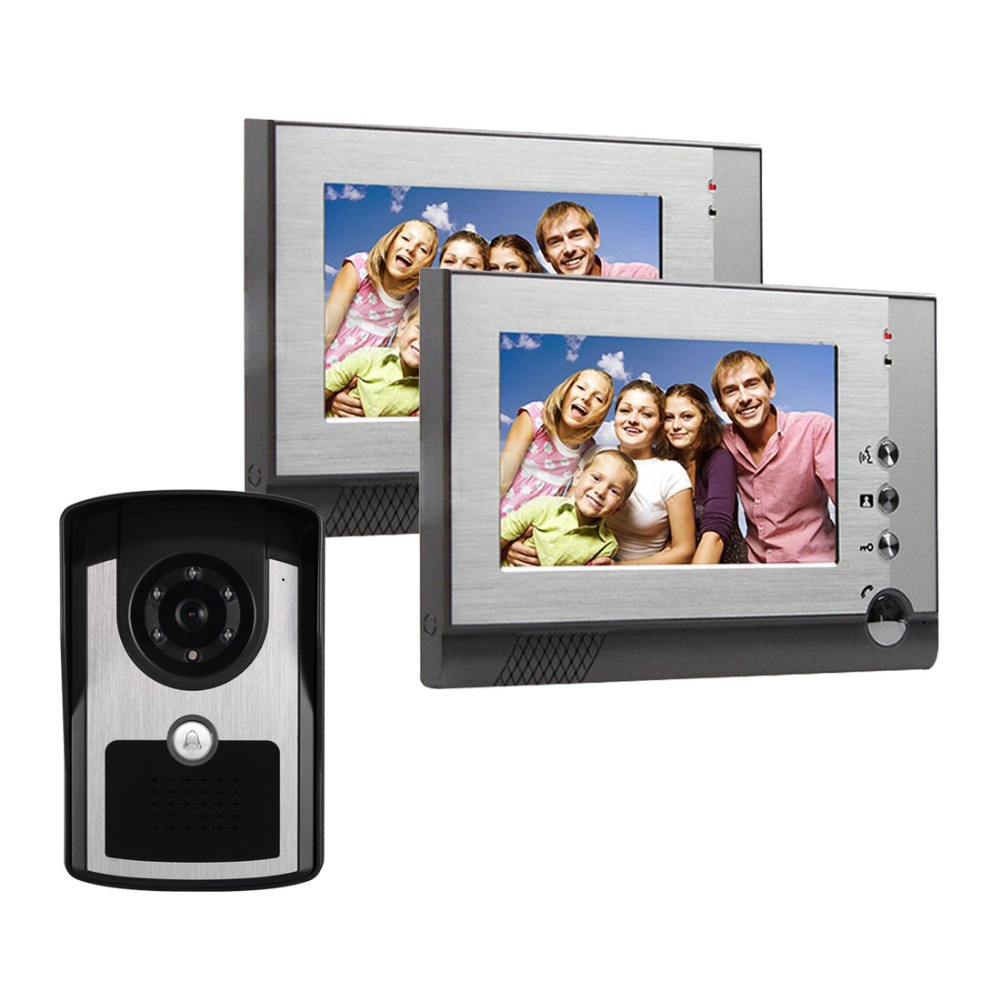 wired Home Apartment Color Video door Phone Intercom System 7 TFT LCD Monitor IR Outdoor Camera doorphone HD camera 1 To 2 wired video door phone intercom doorbell system 7 tft lcd monitor screen with ir coms outdoor camera video door bell