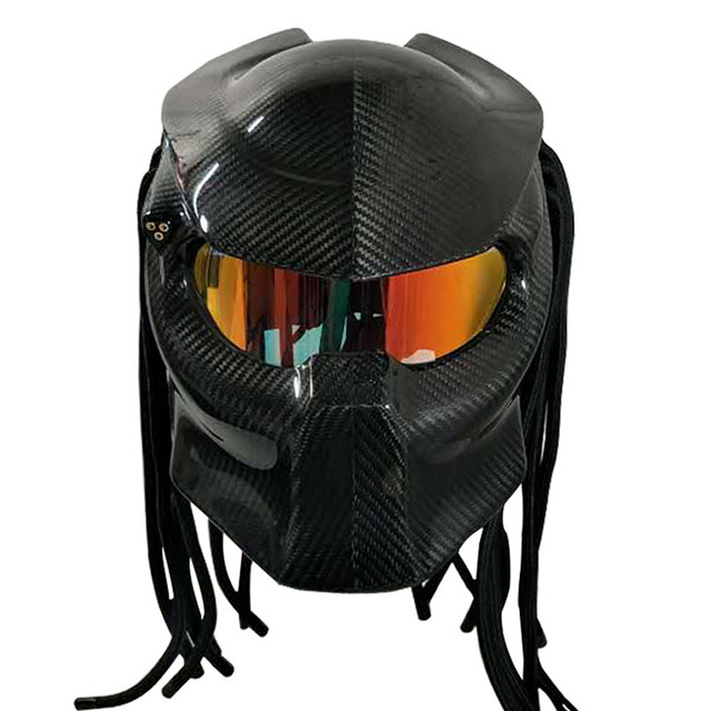 Carbon Fiber Motorcycle Helmet >> Vcoros Predator carbon fiber Motorcycle helmet Full face Jagged Warrior motorbike helmet Women ...