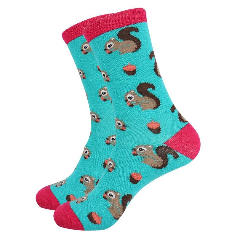 Animal Jacquard Cotton Women Socks Owl Fox Horse Rabbit Squirrel Socks Colorful Fun Chromatic Striped Long Socks for Female
