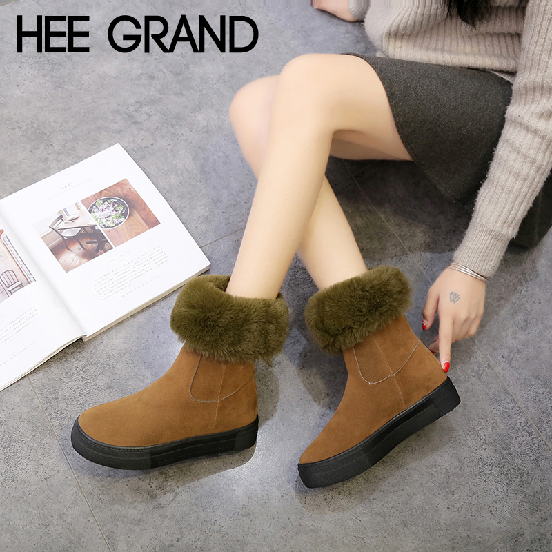 HEE GRAND Short Plush Faux Suede Warm Women Snow Boots Creepers Platform Casual Shoes Woman Slip On Women Ankle Boots XWX6813 original intention fashion women sandals open toe square heels sandals black red purple rose pink shoes woman plus us size 4 15