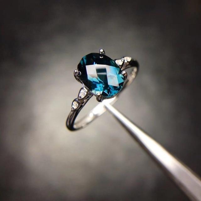 London Blue Topaz Ring Solid 925 Sterling Silver Gemstone Fine Jewelry Women Wedding Party Brand Jewelry