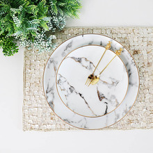 Креативная фарфоровая тарелка с мраморным дизайном, золотой ободок, тарелка для стейка, Европейский Американский стиль, для жизни