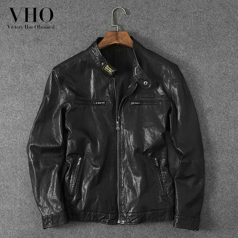 VHO men's fashion trend vegetable tanning genuine leather jacket short sheepskin coats youth motorcycle leather outerwear