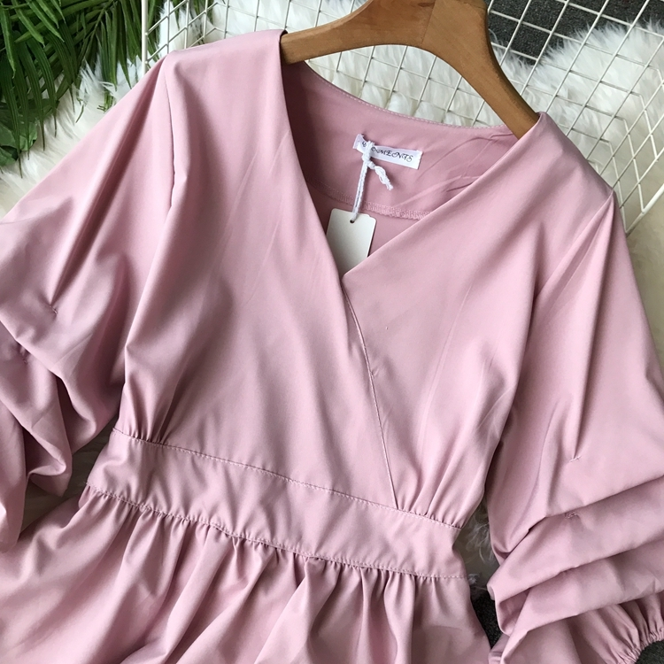 2109 Spring Women V-neck Puff Sleeves Blouse Slim Tunic Tops Retro Vintage Pullovers Busos Para Mujer Kimonos 85