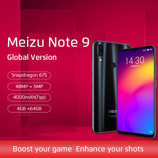 Versión global Meizu Note 9 4GB 64GB Smartphone Snapdragon 675 Octa Core Note9 6.2 '' 48MP Cámara doble AI frente 20MP 4000mAh B20